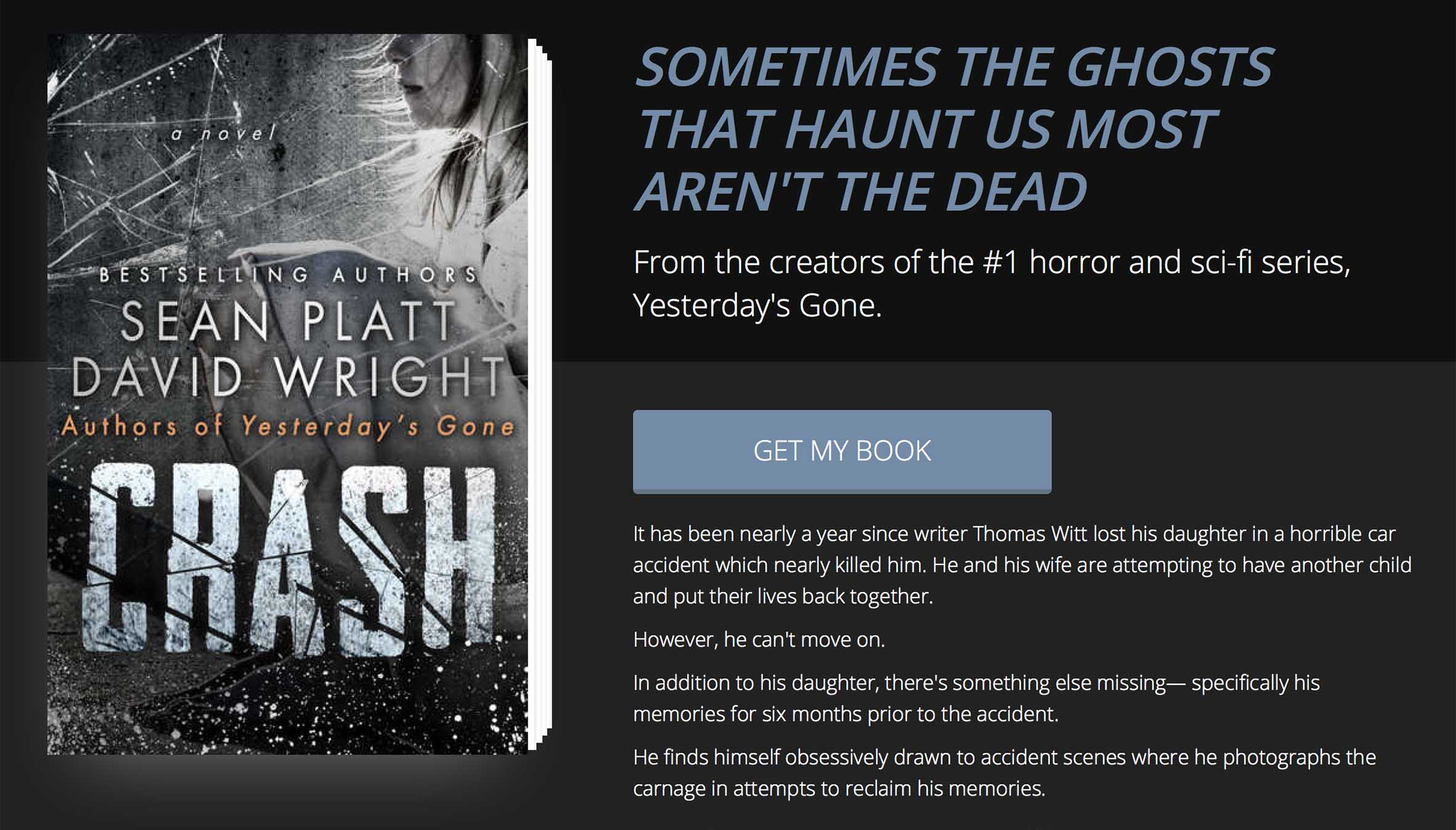Custom landing page design by BookFunnel for Crash by Sean Platt and David Wright